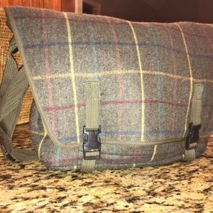 J Crew Wool Plaid Messanger Bag